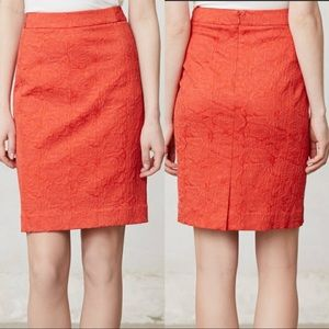 Vanessa Virginia Red arose Brocade Pencil Skirt